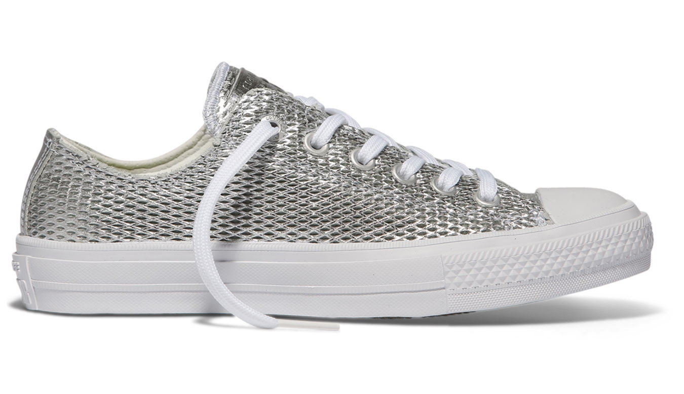 Converse Chuck Taylor All Star II Perforated Metallic Leather Silver